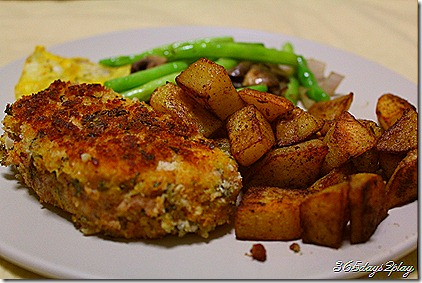 Crumbed Pork with spuds, long beans, mushroom and egg
