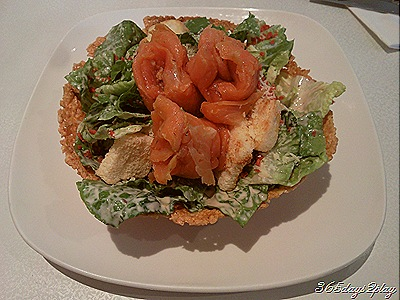 Smoked salmon on caesar salad