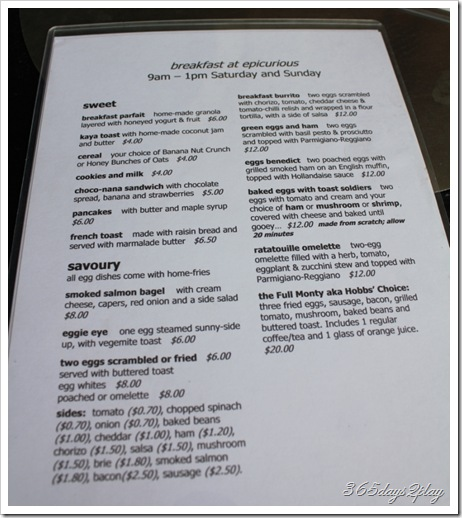 Epicurious breakfast menu