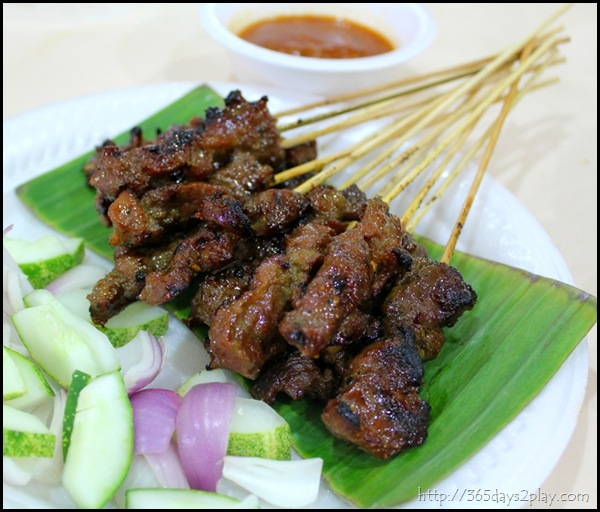 Mutton Satay with peanut sauce dip and cucumber salad (2)