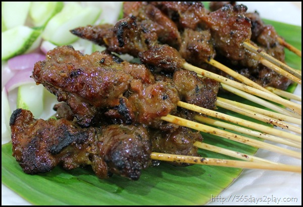Mutton Satay with peanut sauce dip and cucumber salad