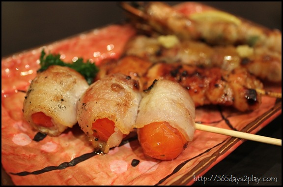 Shin Kushiya Tomatoes wrapped in Bacon