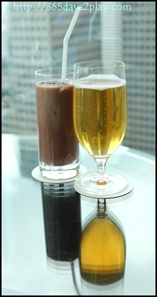Conrad Executive Lounge Iced Chocolate and Beer