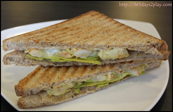 Dann's Pescetarian Cafe - Prawns Avocado Triangle Toasties