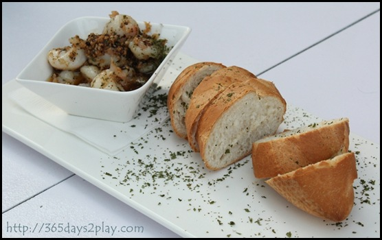 Hosted on the Patio -  Garlic Prawns with crusty bread