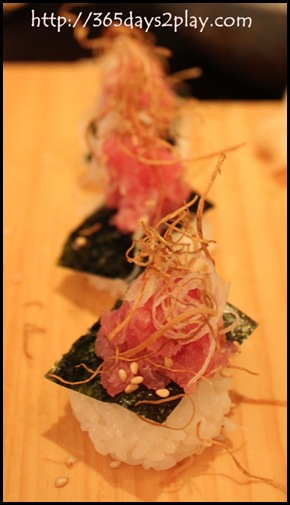 Kinki - Fatty Blue Fin Tuna with Fried Burdock Sushi