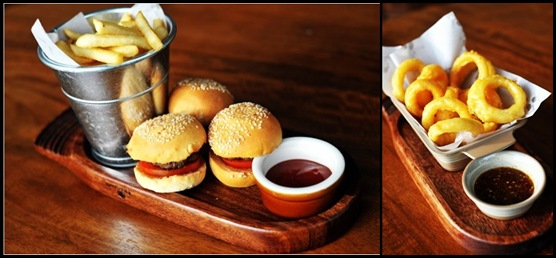 Queen & Mangosteen - Mini burgers and onion rings