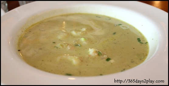 Queen & the Mangosteen - Green Pea and Scampi Soup