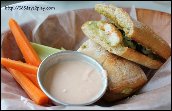 The Garden Slug -Pan seared shrimp zucchini and pesto aioli