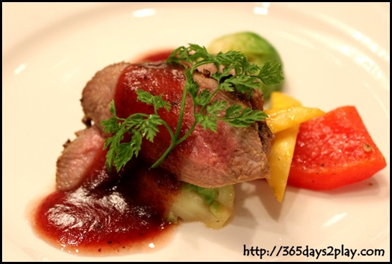 Rendezvous Hotel - Baked duck breast topped with goose liver mousee