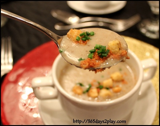 Rendezvous Hotel - Cream of wild mushroom soup topped with crispy turkey bacon (2)