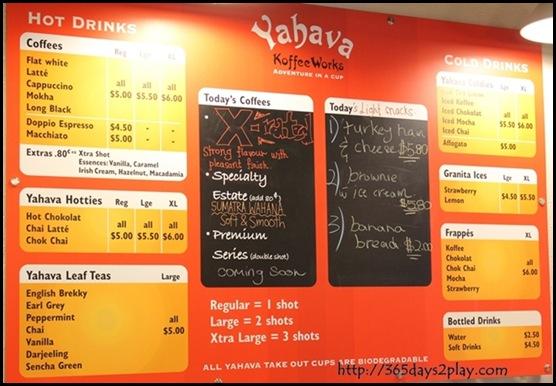 Yahava Koffeeworks Cafe Menu