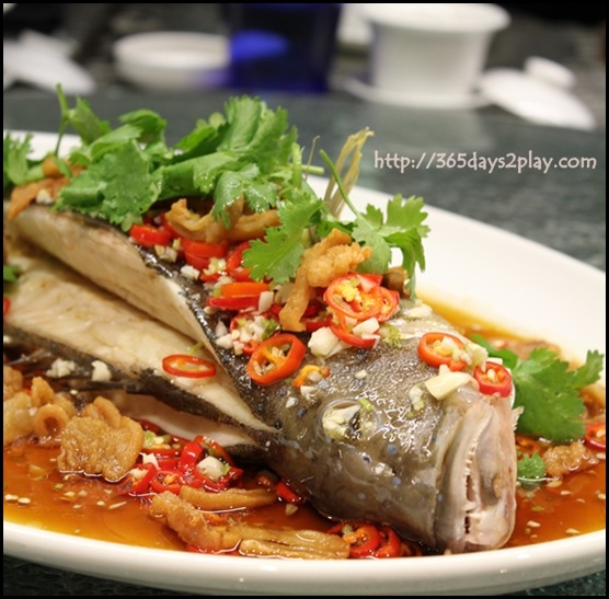 Crowne Plaza Changi Airport Azur Restaurant - Steamed Garoupa in Pickle Chilli and Crispy Pork Lard (1)