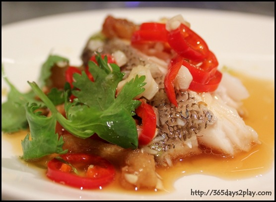 Crowne Plaza Changi Airport Azur Restaurant - Steamed Garoupa in Pickle Chilli and Crispy Pork Lard