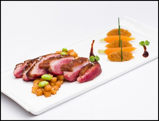 Halia Main - Pan-seared Challans duck breast, lyonnaise potato, apple, cinnamon compote, duck jus