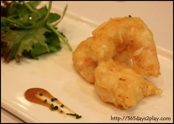 Halia - Tempura of white prawn, salad leaves with light lemon vinaigrette, baby shiso, beetroot and celeriac reduction