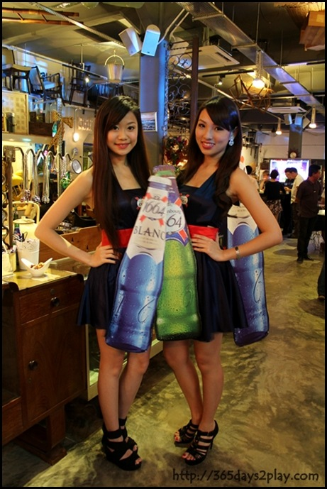 Kronenbourg 1664 Party at Coastal Settlement - Beer ladies pose for me