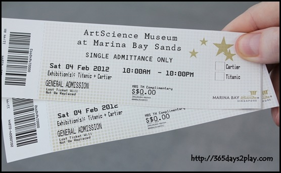 ArtScience Museum tickets to Titanic!