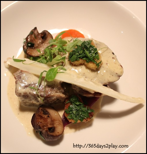 Pantry at The Stables - Blanquette of beef brisket with trimmed root vegetables, wild mushrooms and shaved truffle