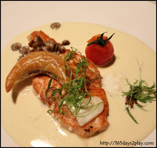 Pantry at The Stables - Pan Roasted Darne of Tasmanian salmon celeriac, fleuron of mushroom and mustard grain sauce