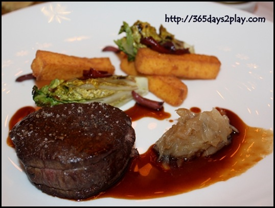 Brasserie Les Saveurs - Roasted Beef Tenderloin, polenta sticks, sucrine salad, tomatoes and olives, red wine sauce (4)