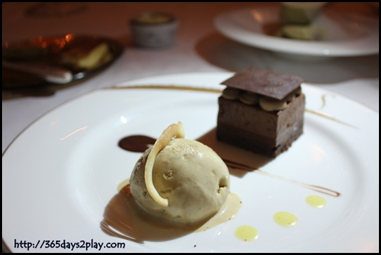 Brasserie Les Saveurs - Trio of chocolate mousse with coffee ice-cream and pepper anglaise sauce (2)