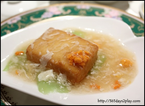 Mercure Roxy - BRAISED BEANCURD WITH LUFFA MELON, CRABMEAT AND CRAB ROE