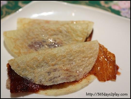 Mercure Roxy - Peking Duck slices in Pancake wrappers
