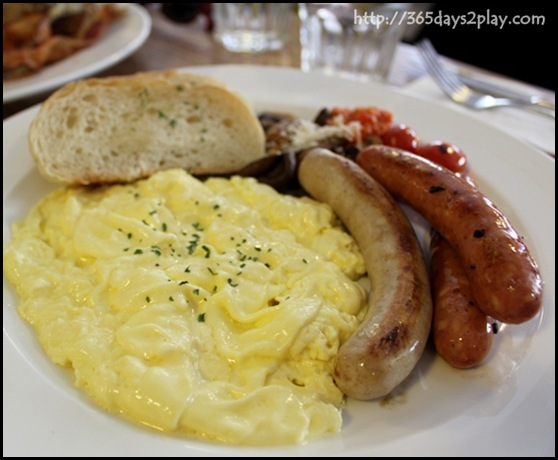 Mooshi Bakes - Truffle Oil Infused Scrambled Eggs, Sausages, Grilled Tomatoes, Handmade ciabatta $16 (2)
