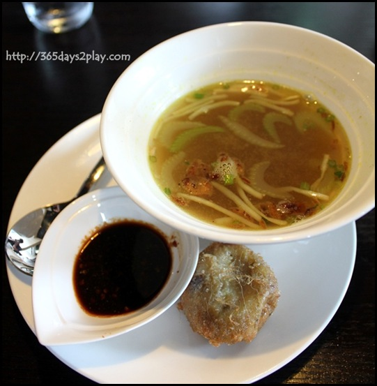 Rumah Rasa - Soto Ayam Madura (A hearty chicken broth with Shredded Chicken, Bean Sprouts and topped with a Potato Croquette) $8