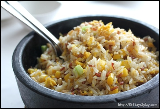 Crystal Jade Dining IN -Assorted Grains  Fried Rice Style in Hot Stone Pot $18