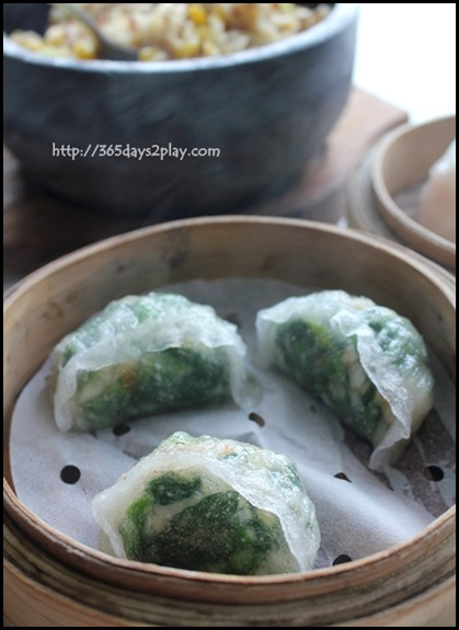 Crystal Jade Dining IN - Steamed Shrimp Dumpling with Spinach $3.80