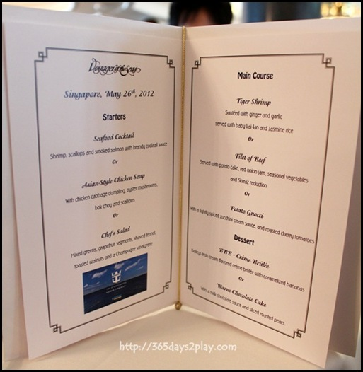 Voyager of the Seas Carmen Dining Room Menu