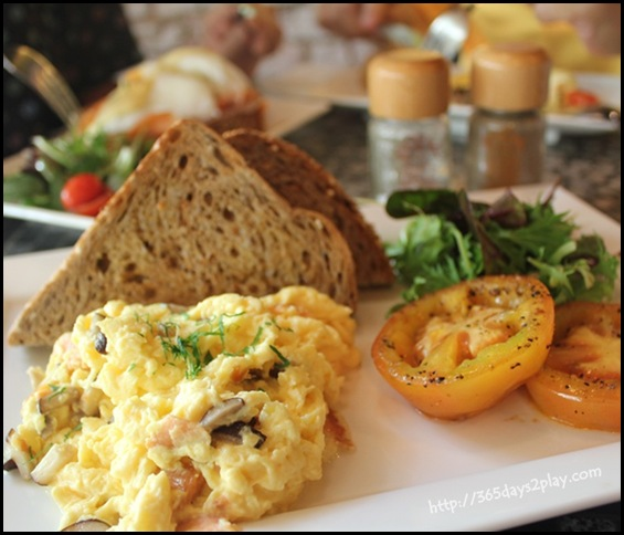 Chock Full of Beans - Scrambled Eggs with mushrooms, swiss cheese and smoked salmon