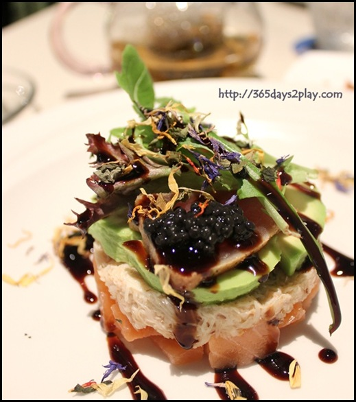 Covelli Italian Bistro - Antipasto Fruitti di Mare (Tataki Tuna, cured Salmon, Crabmeat and Avocado topped with Avruga Caviar & Balsamic Reduction) (2)