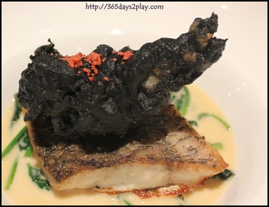 Covelli Italian Bistro - Pan Roasted Barramundi with Charcoal Lobster served with Baby Spinach in Gewurztraminer Cream (3)