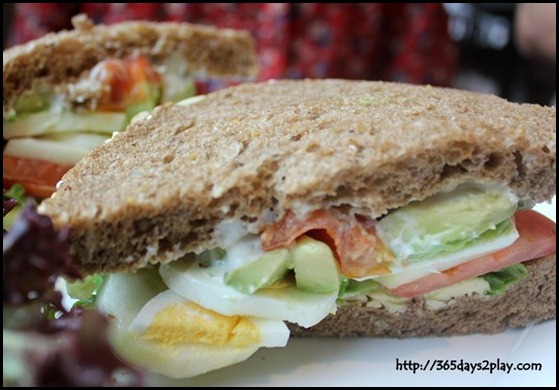 Nassim Hill - Crunchy Veggies sandwich with sliced egg, avocado, cucumber, greens and cherry tomato confit on sunflower seed bread $12 (1)