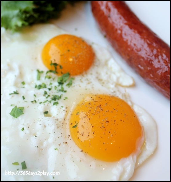 Nassim Hill - Sunny-side up eggs with choice of beerbeiser sausage, center cut bacon or honey baked ham $15 (1)