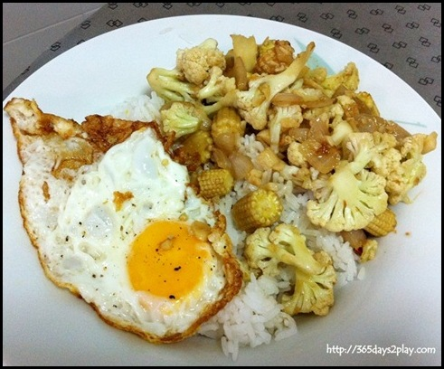 Cook for Family - Fried egg with lightly fried vegetables
