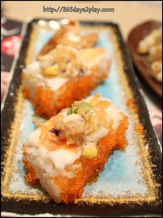 Itacho - Box made shrimp with fish roe $2.20 U.P $2.50