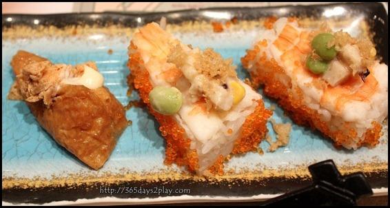 Itacho - Left is Inari with Spicy Salmon $1.00 U.P $1.50
