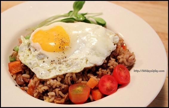 Real Food - Organic Fried Brown Rice with french beans, mushrooms, carrots and crushed black peppercorn $7.80  $1.50 for fried Egg (1)