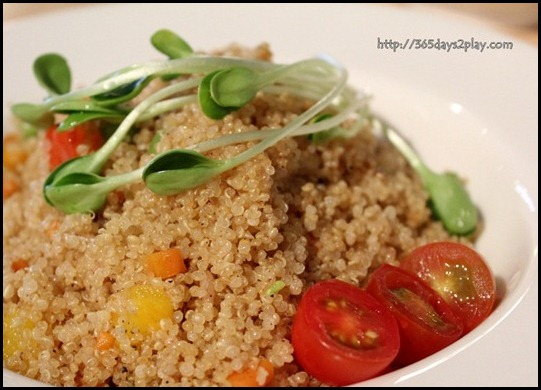 Real Food - Organic Fried Quinoa with french beans, mushrooms, carrots and crushed black peppercorn $7.80