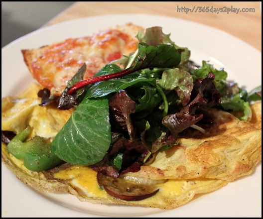Real Food - Veggie Omelette with assorted vegetables, pineapple and mushroom with a melted cheese toast and a side of fresh green salad $8 (2)