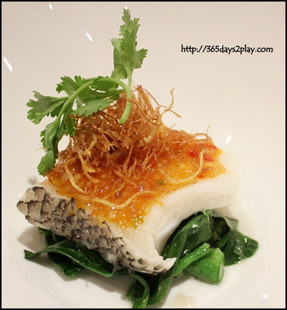 River Palace Chinese Restaurant - Steamed Cod Fish with Chilli Garlic & Plum Sauce