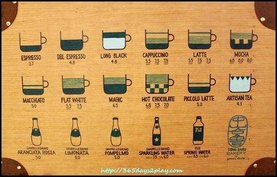 Tiong Bahru Bakery - Coffee Menu