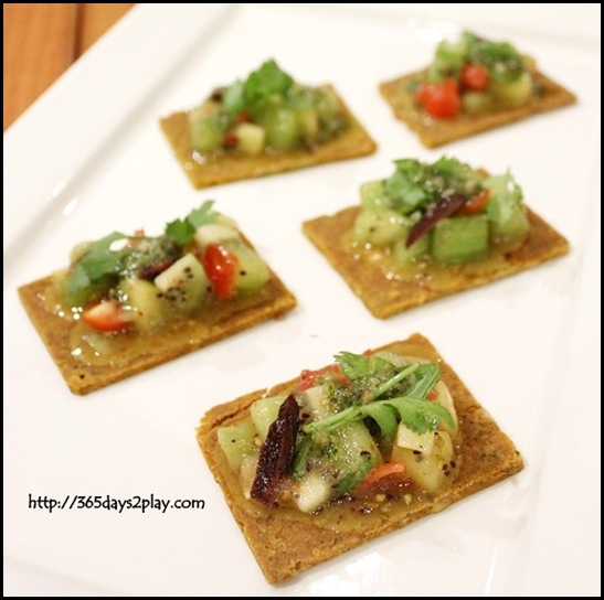 Zespri Kiwifruit Event - Zespri Kiwifruit Event - Raw Bruschetta with Pesto and Kiwi Salsa