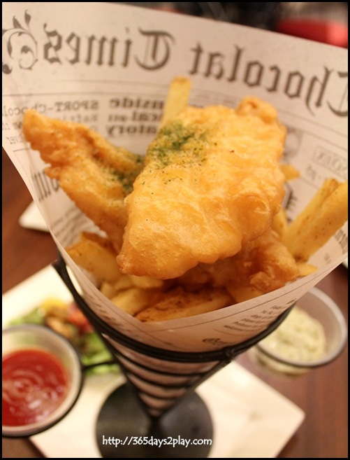 Au Chocolat - Battered Fish & Spiced Chips $22 - Lightly Battered white fish fillets with crispy chips, tossed with parmesan & herbs, served with signature green tartar sauce
