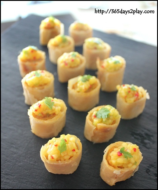 Boxing Crab Seafood Restaurant - Otah cigar with mango salsa canape