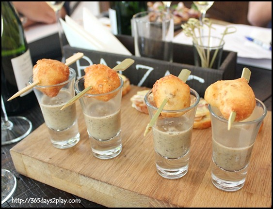 Jaillance Event at Balzac Brasserie - Camembert Croquette with wild Mushroom Veloute